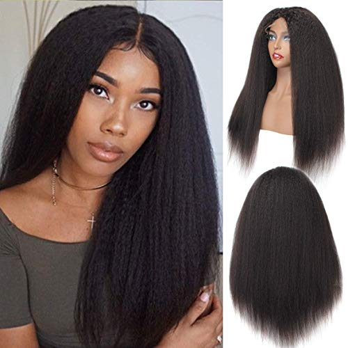BLISSHAIR Lace Front Perücke, 9A Brasilien Remy Lace Front Wigs Human Hair Echthaar Yaki Kinky Straight Haarverlängerung Wig 14inch -