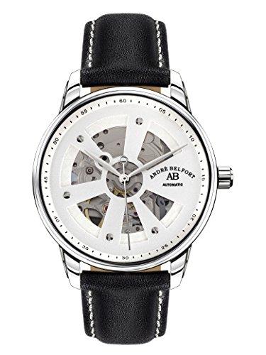 André Belfort Men's Roue Du Temps Ip Watch 410169 Leather Silver