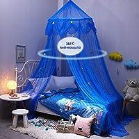 Jannyshop Mosquitera Para Niños Cama Cuna Comfort Blue Star Domo Redondo Mosquiter para Bebés Infantil