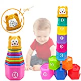 DIY House Rainbow Toddler Baby Stacking Cup Toy Blocks Bricks Sound Folding Cup Toy stacking cups game with numbers for babies bath kids