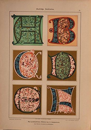 Schriftenatlas: Tafel 56 - Gotische Initialen 13. Jahrhundert, Teil 1 (farbige Lithographie mit...
