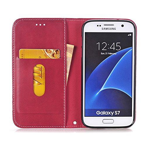 Hülle für Samsung Galaxy S7, Tasche für Samsung Galaxy S7, Case Cover für Samsung Galaxy S7, ISAKEN Farbig Blank Muster Folio PU Leder Flip Cover Brieftasche Geldbörse Wallet Case Ledertasche Handyhül Fadenkreuz Knopf Rot