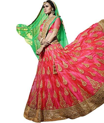 Indian Ethnicwear Bollywood Pakistani Wedding Pink A-Line Lehenga Semi-stitched-ROYK27119