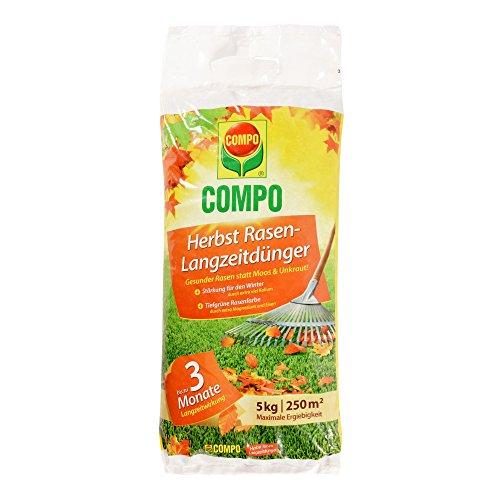 COMPO Herbst Rasen-Langzeitdünger, 3 Monate Langzeitwirkung, Feingranulat, 5 kg, 250 mu00b2