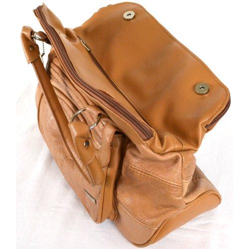 Dameneinkaufstasche, -handtasche Leder mit praktischem Magnetverschluß (Dunkelbraun / Dunkelbeige / Schwarz / Hellbraun) Hellbraun
