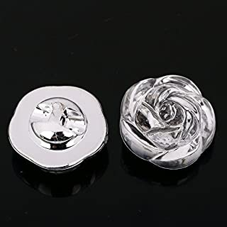 AB 20pcs Sew on BUTTONS Diamante Clear Acrylic Faceted Sparkle Crystal Gem Craft (AB6 - 3D Rose - 20mm)