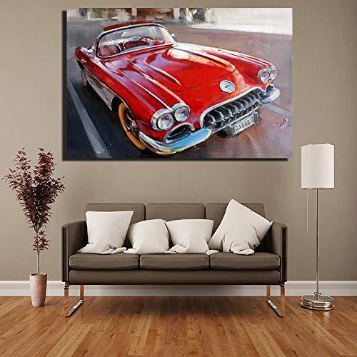 Klassische Retro Vintage Auto Paitnings Für Kinderzimmer Zwei Farbe Auto Malerei Auf Dem Wohnzimmer Wand Pop Art Leinwand 30x45 cm ungerahmt Rot