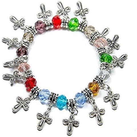 Estiran de cruces plateados plata pulsera de perlas de cristal hechas a mano de Tierra Santa