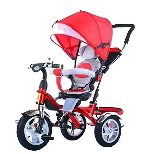 LAZ Folding Baby-Dreirad, w/Adjustable Markise, Folding ABS Fußpedale, Schwamm Reling, stoßdämpfender Räder, Tricycle for Kinder im Alter von 1-5 Jahren alt (Farbe : Rot)