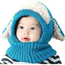 Inverno del bambino delle ragazze dei capretti dei ragazzi di lana caldo Coif Hood sciarpa (Abbigliamento bambino)