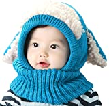 Neonati E Bambini Best Deals - Inverno del bambino delle ragazze dei capretti dei ragazzi di lana caldo Coif Hood sciarpa ricopre i cappelli (Blu)