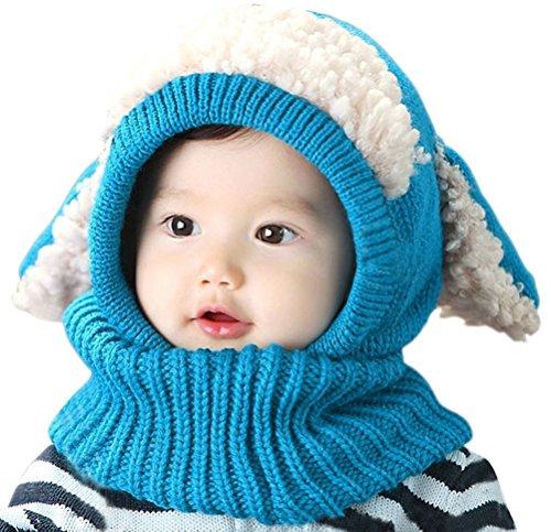 Inverno del bambino delle ragazze dei capretti dei ragazzi di lana caldo Coif Hood sciarpa ricopre i cappelli (Blu)