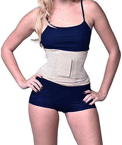Camellias Damen Sport Gürtel Taille Trainer Belt für eine Sanduhrfigur Breathable Verstellbar Corset Waist Body Shaper, UK-SZ8001-Beige-L (Muskel-mann Gewicht)