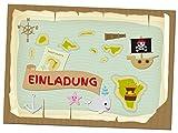 12 Einladungskarten Zum Kindergeburtstag - Motiv Pirat - für Kinder, Jungen, Mädchen, Party Feier Geburtstagseinladungen im Set