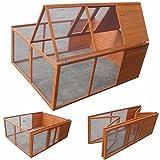 Melko® Klappbarer Hasenstall Kleintierstall Freilaufgehege ca. 160 x 119 x 60 cm, aus Holz, braun