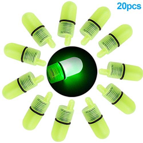 Rokoo 20 Unids / set LED Campanas de Pesca Luminosa Alarma Clip de Noche de Plástico Caña de Pescar Punta Led Luz Campana de Mordida Anillo Fish Bait Alarmas