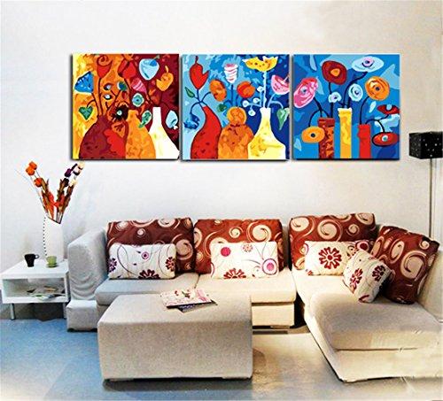 YEESAM ART Neuerscheinungen Malen nach Zahlen 3 teilig bilder für Erwachsene - Blumen Vase...