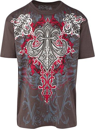 Sakkas Saints Ruhm metallisch geprägten Herren Mode T-Shirt Holzkohle