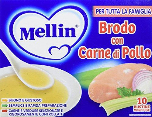 Mellin Brodo di Pollo Liofilizzato 10 Pezzi da 50 gr