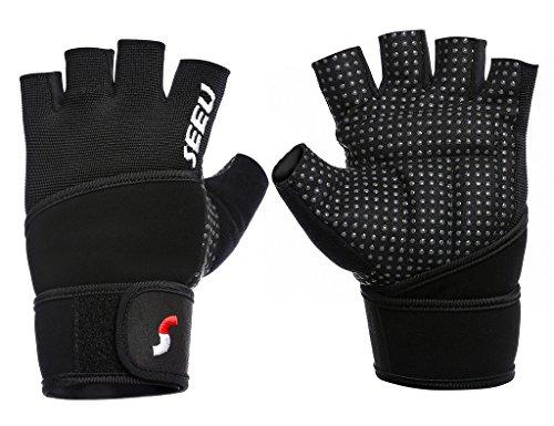 SEEU Trainingshandschuhe Fitnesshandschuhe mit Handgelenkstütze für Krafttraining Gewichtheben und Bodybuilding Silber M