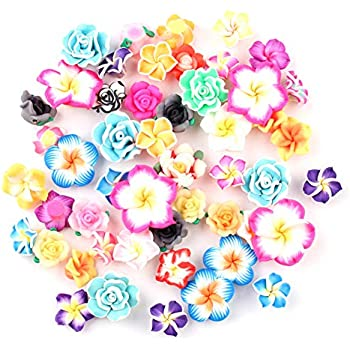 Violet 44 Pack Flower Resin Charms Daisy Peony Plastic Flatback Loose Beads for Jewelry Making Scrapbooking Phone Case Decor Hair Accessories Fairy Garden Decor