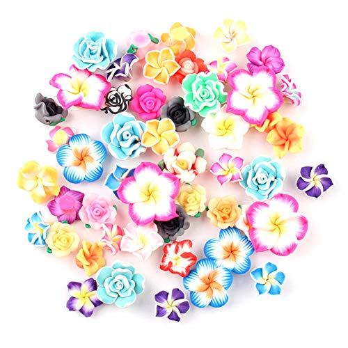 Paquete de 50 colgantes de resina de flores tropicales hawaianas de plástico para decoración del hogar o álbumes de recortes
