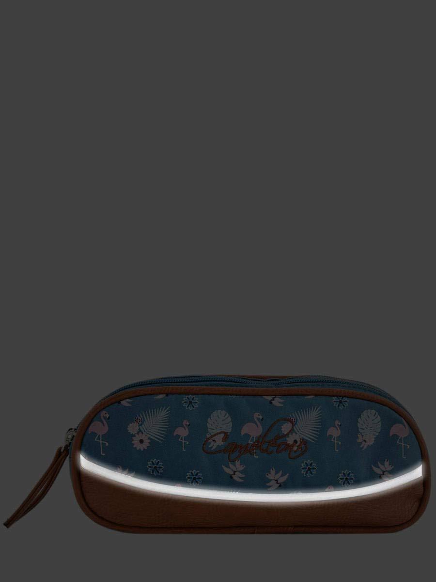Estuche de 2 compartimentos con diseño de camaleón, línea vintage Print Girl Poliéster con cremallera. Estuche para la escuela primaria., color GOLD FLOWERS