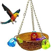 Nichoir Nid d'Oiseau Utilisant la Coquille de Noix de Coco Naturelle Balançoire Hamac Jouet de Perroquet Bird toys Parrot Toy CoconutShellNestSwing