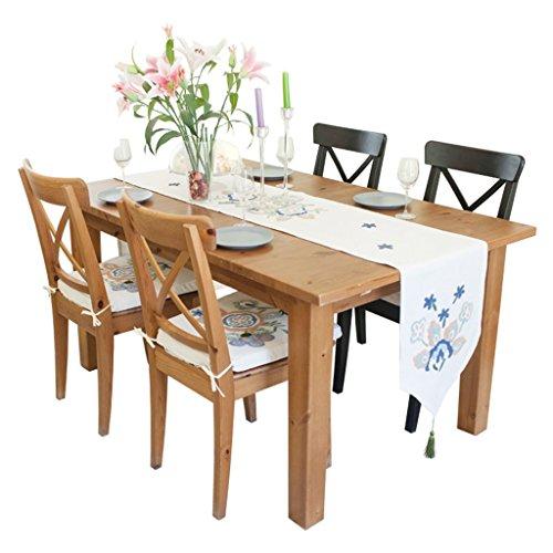 QiangZi Chemin de Table Coloré Coton Et Lin Floral Brodé Salon Cuisine Noces Bureau \