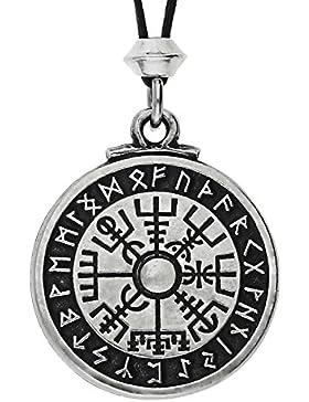 Handgemachte Nordische Wikinger Vegvísir Kompass Zinn Anhänger (auf schwarzem Seil)