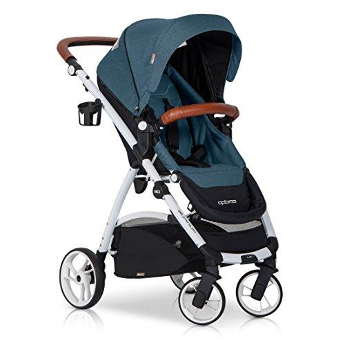 easyGO Buggy Sport Kinderwagen OPTIMO Adriatic mit Liegefunktion - zusammenklappbar - Alu und Leder - Baby ab 6. Monate