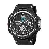 """DAGE Herren """"Galaxie"""" Doppelte Schnalle Analog Digitale Uhren Wecker LED Licht Zwei Zeitzonen Wasserdicht, Mode Outdoor Sport Armbanduhr für Männer"""