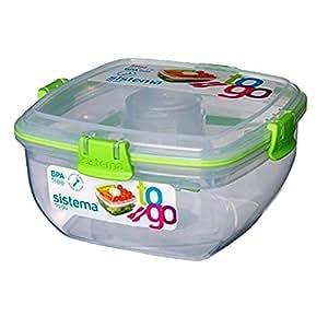 Sistema Salad To Go - Contenitore per insalata con scomparto per condimento e posate, 1,1 litri 1x grün