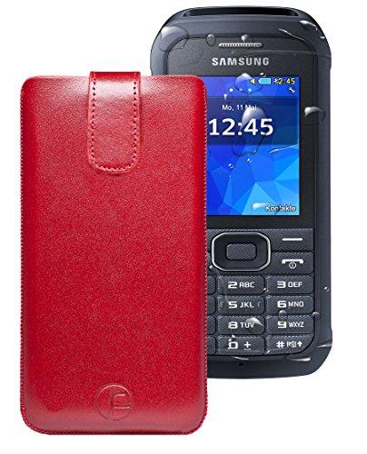 Favory ® Etui Tasche für / Samsung Xcover 550 (SM-B550H) / Leder Handytasche Ledertasche Schutzhülle Case Hülle *Lasche mit Rückzugfunktion* rot