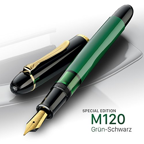 Pelikan M120 Reservoir System Rechargeable Refillable Fountain Pen Fountain Pen (Reservoir System 1Pièce (S), Black, Gold, Green, Gold, Green, Black Plastic, Metal, Gold Plated Medium, Box)