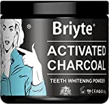 Briyte Black Charcoal Teeth WHITENING Powder Activated Charcoal Coconut Powder with Iron Large 60g tub - Guaranteed Cleans Tongue