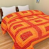 Craft Jaipur Jaipuri World Famous Light Weight Pure Cotton Traditional Rajasthani Print Reversible Double Bed Quilt/Razai / Rajai - Orange