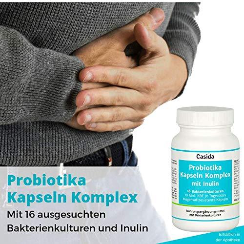 Probiotika Kapseln Komplex mit Inulin aus der Apotheke – Probiotikum mit 16 ausgewählten Bakterienstämmen und Bio Inulin – mit u.a. Lactobacillus, Bifidobacterium – 120