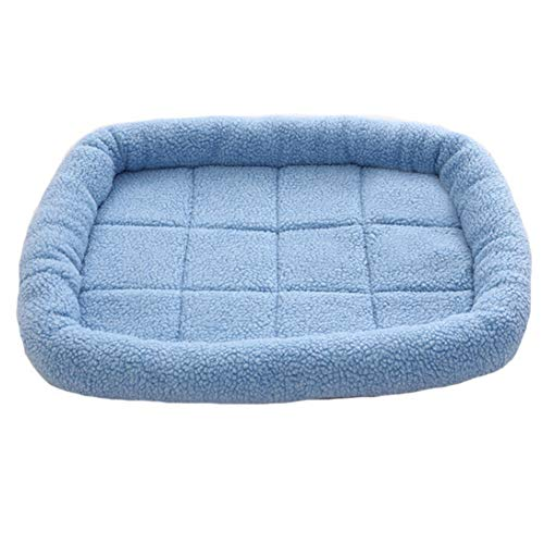 Syfinee Warm Soft Cotton Puppy Kennel Crate Cat Bed Washable Cushion Mat for Pet Dogs Imperial Blue Rim