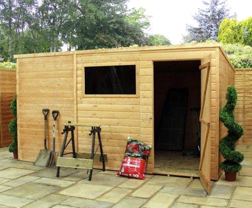 10pies x 8pies lengua y Groove Pent de madera jardín cobertizo de una puerta con + 1ventana (10mm sólido OSB piso)