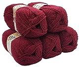 Alpaka Royal 5 x 100 Gramm Alize Strickwolle, 500 Gramm Wolle einfarbig (Bordeaux 57)