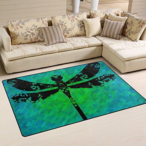 bennigiry Silhouette of Libelle Painted Flecke rutschfeste Bereich Teppich Pad Teppichunterlage für harte Böden, rutschfeste Teppich Matte Teppich Untergrund für Wohnzimmer Schlafzimmer 80x 50cm (78,7x 50,8cm)