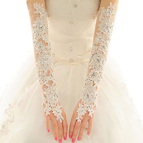 Elegante Strass-Spitze-Braut lange Handschuhe für Hochzeit (Make Up Bühne Billig)