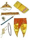 #5: Pakhi Little Krishna Dhoti Dupatta Set - Yellow Set with Orange Fan (9 - 12 months)