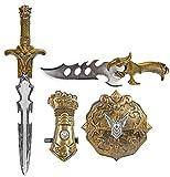 Nerd Clear Gladiator-Set 4-teilig für Kinder | Schwert, Schild, Dolch, Armschoner | ideal für Karneval, Fasching, Halloween |