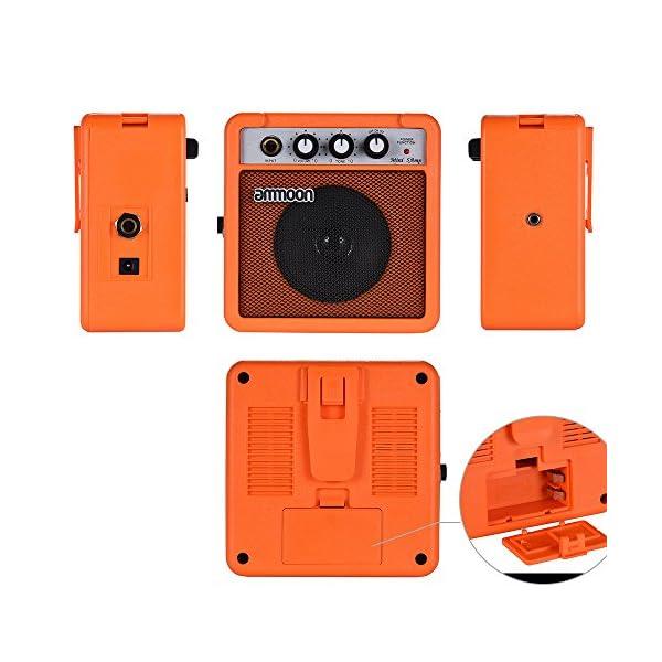 ammoon Amplificatore per Chitarra Acustica / Elettrica Mini Alimentato a Batteria da 5 Watt 9V Ukulele Alta Sensibilità con il Controllo del Tono del Volume