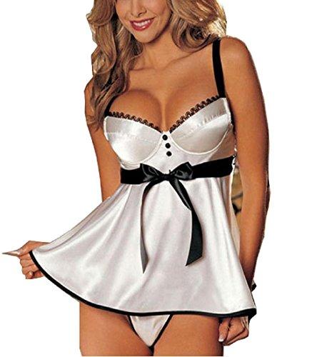 Rcool Damen Dessous Babydoll Kleid Nachtwäsche Nachtwäsche Unterwäsche G-StringShiny Rock White weiß