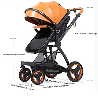MU Comfortable Pushchairs Pushchairs High Landscape Two-Way Shock Baby Stroller, Stroller Can Sit Reclining Folding Baby Products Prams Pushchairs