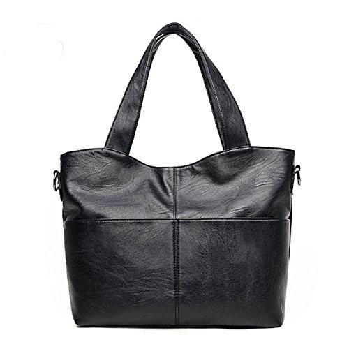 Frauen-weiche PU-Leder-Tote-zufällige Handtaschen Schulter-Kurier-Kreuz-Körper Bauscht Damen-Weinlese-Spitze-Griff Taschen Black