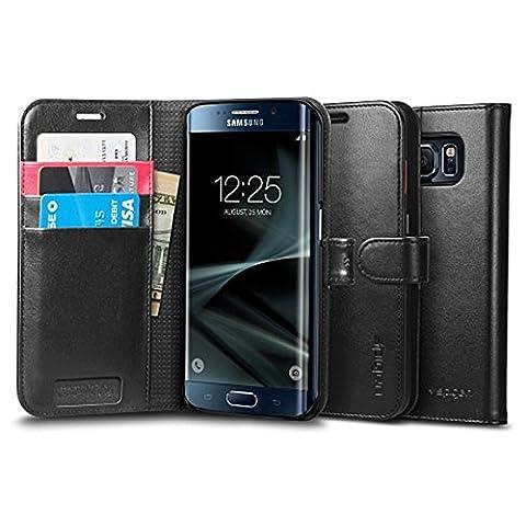Coque Galaxy S7 Edge, Spigen [Wallet S] Stand Feature [Black] Premium Wallet Etui with STAND Flip Coque Samsung Galaxy S7 Edge (2016) - (556CS20050)